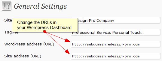 How to change a wordpress blog url from a subdirectory to for Edesign login